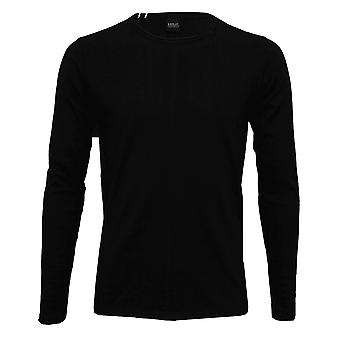 Replay lange mouwen Crew-Neck T-Shirt, zwart