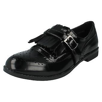 Ladies Spot On Shoes Style F80108 Black Patent Size 5 UK
