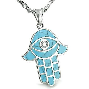 Amulet Hamsa Evil Eye Reflection Powers Turquoise Protection Lucky Charm Pendant Necklace
