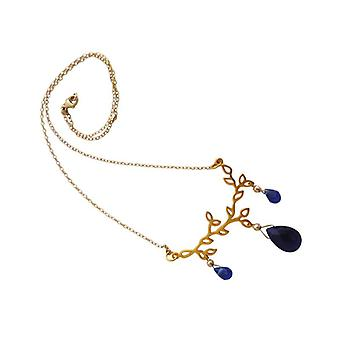 Ladies necklace leaves blue gold-plated ladies necklace