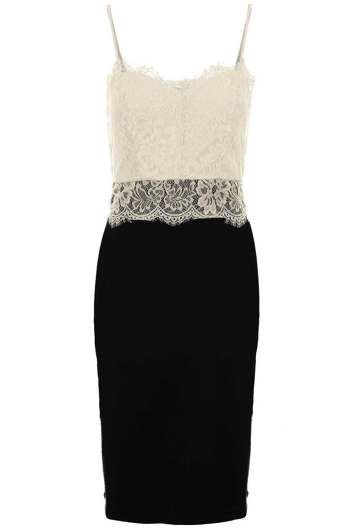 Ladies Sleeveless Floral Lace Top Contrast Pencil Women's Bodycon Party Dress