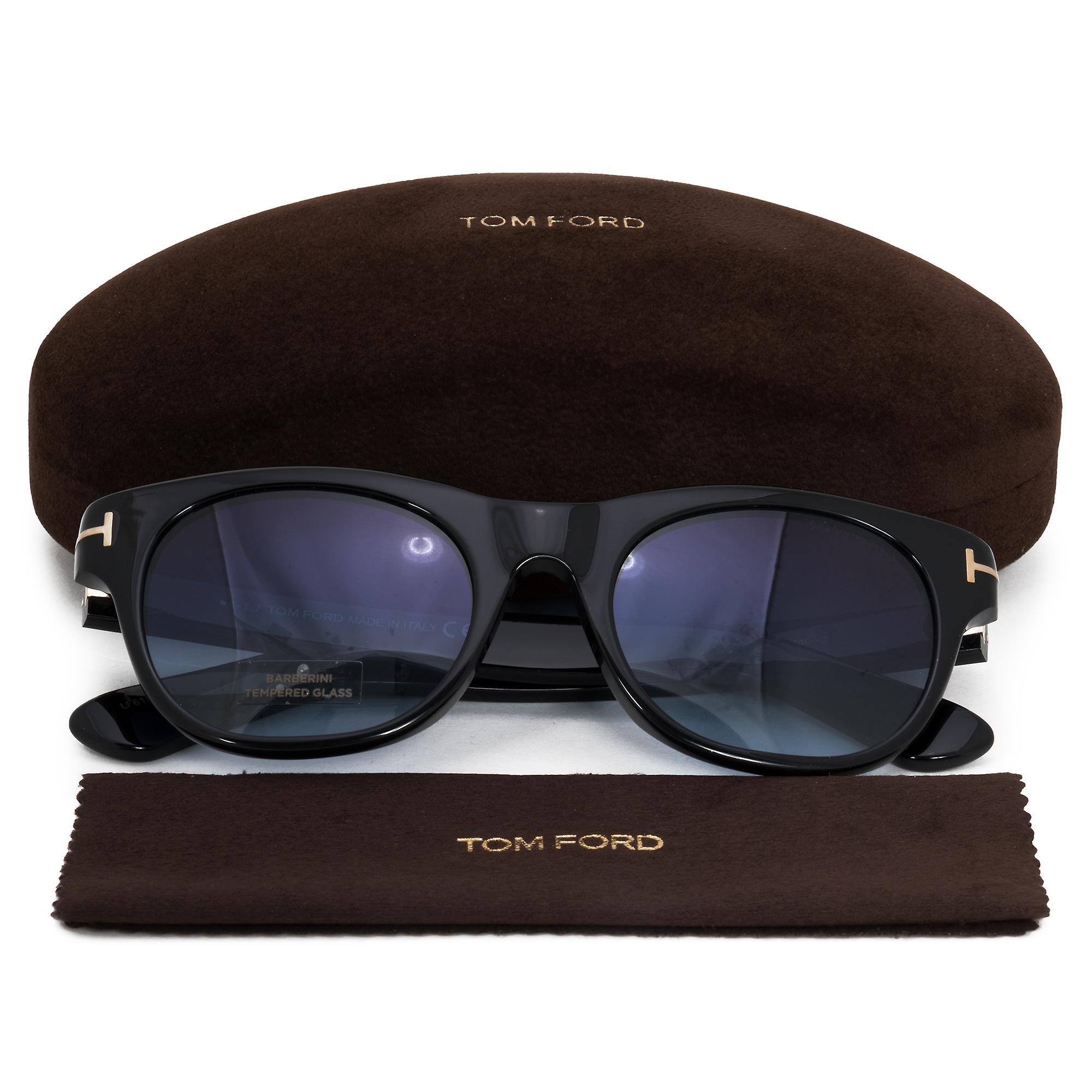 Tom Ford Alley Oval Sunglasses FT0532 01W 51 | Black Acetate Frames | Blue Gradient Lenses