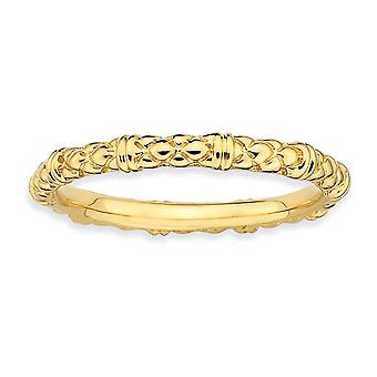 925 Sterling Silver Polished Patterned Stackable Expressions 14k Gold Plated Cable Ring Jewelry Gifts for Women - Ring S