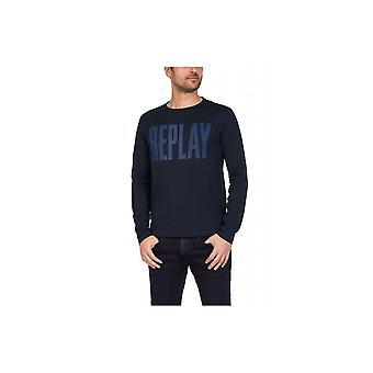 Replay Printed Logo Longsleeve M35952660576 universal winter men t-shirt