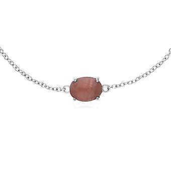 Classic Oval Rhodochrosite Single Stone Bracelet in 925 Sterling Silver 270L010606925