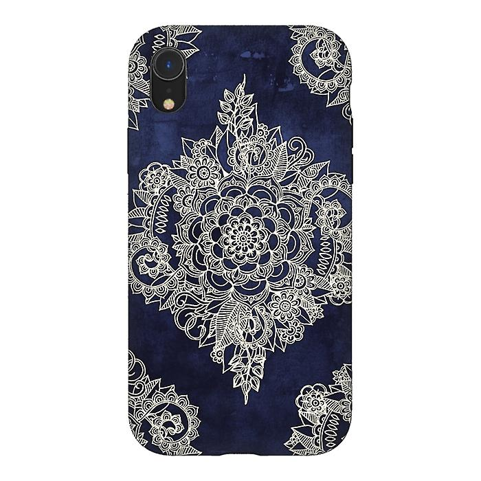 ArtsCase Designers Cases CREAM FLORAL MOROCCAN PATTERN ON DEEP INDIGO INK for Tough iPhone Xr