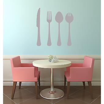 سكين المائدة شوكة الجدار ملعقة الفينيل الفن ملصقا الجدار