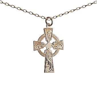 9ct Gold 28x20mm hand engraved Celtic Cross with a 1.4mm wide belcher Chain 24 inches
