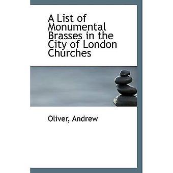 Luettelo monumentaalinen messingit Lontoon kirkoissa