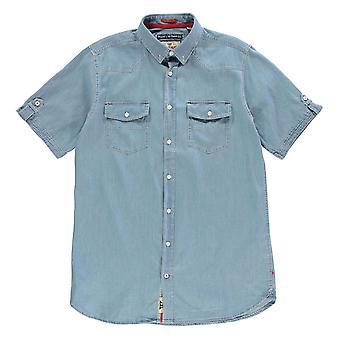 D555 Mens Nathan Short Sleeve Denim Shirt Casual Cotton Button Placket Chest