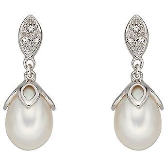 Éléments or d'eau douce perles boucles d'oreilles - argent