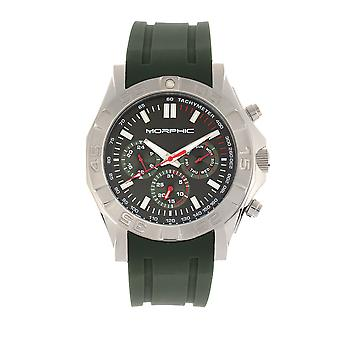 Morphic M75 Series Tachymeter Strap Watch w/Day/Date - Silver/Green