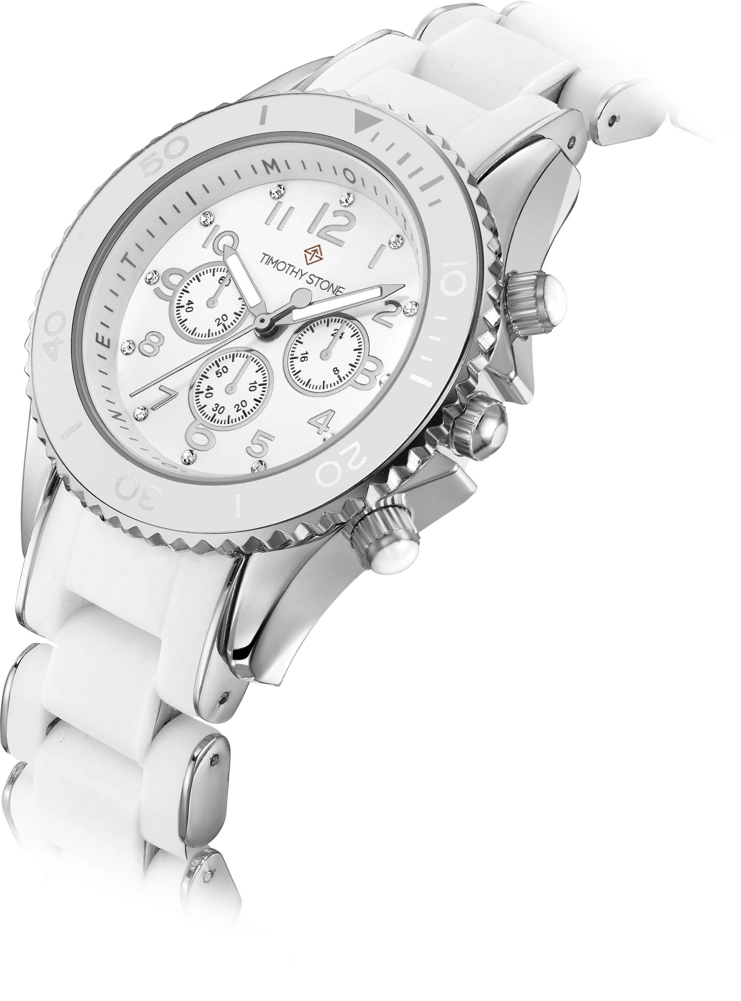 Timothy Stone Women's AMBER-SILICONE White and Silver Watch