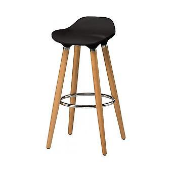Fusion Living Czarny plastikowy stołek barowy z drewnianymi nogami bukowymi