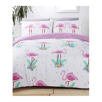 Pink Flamingos Duvet Cover and Pillowcase Set