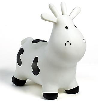 Happy Hopperz Inflatable Bouncy Ride On Toys - White Cow