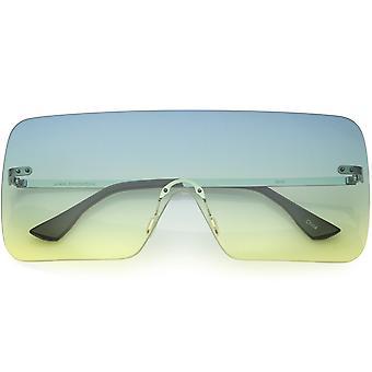 Große futuristische moderne Mono Block Rimless Flat Top Shield Sonnenbrille 75mm