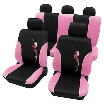 Girly Car Seat Covers Pink & Black Flower pattern -Peugeot 207 2006-2018