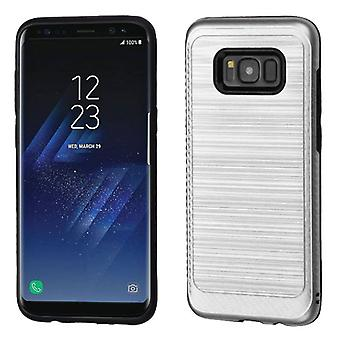 ASMYNA Silver/Black Brushed Hybrid Case(w/ Carbon Fiber Accent) for Galaxy S8 Plus