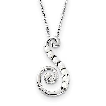 925 Sterling Zilver gepolijst Gift Boxed Spring Ring Rhodium verguld zoetwater gekweektparel bereiken 18inch Necklac