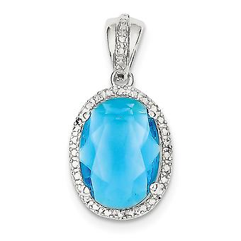 925 Sterling Silver Polished Open back Oval Blue CZ Cubic Zirconia Simulated Diamond Pendant Necklace Jewelry Gifts for