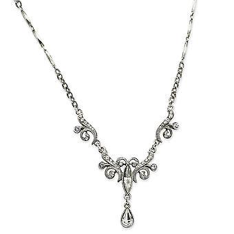Silver tone Fancy Lobster Closure Crystals Teardrop 15 Inch Necklace