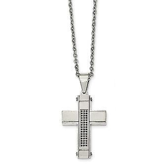 Edelstahl gebürstet und poliert, mit schwarzen Zirkonia Kreuz Halskette - 24 Zoll