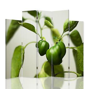 Dekorativa rumsavdelare, 5 paneler, dubbelsidig, canvas, grön paprika 2