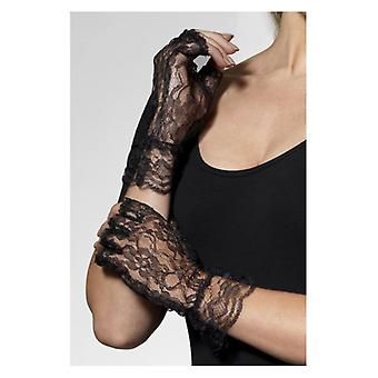 Womens Black Lace Fingerless Lace Gloves Fancy Dress Accessory