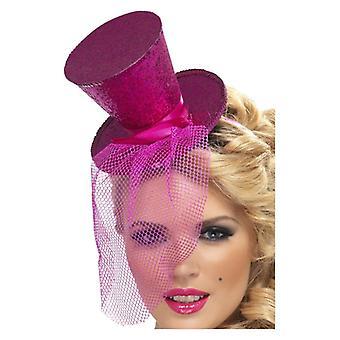 Womens roze Mini cilinderhoed op hoofdband Fancy Dress accessoire