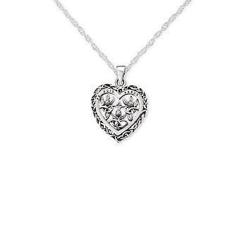 Outlander Inspiré Scottish Highland Interlace Love Heart Shape Necklace Pendant -apos;Je Suis Prest-apos;