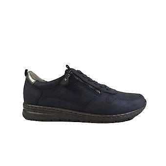 Ara Sapporo 62422-07 Navy Leather Womens Lace/Zip Up Casual Trainers