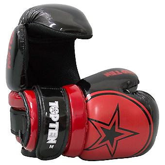 Top Ten Glossy Block Star Pointfighter Guantes Negro/Rojo