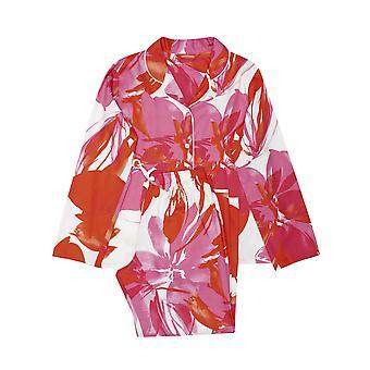 Minijammies 5521 Girl's Amber Pink Floral Print Cotton Woven Pyjama Set