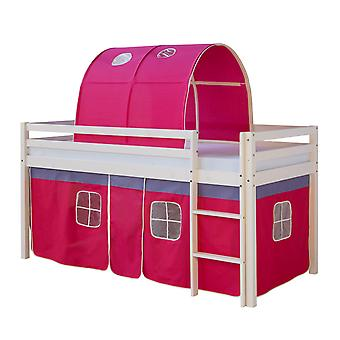 Single loft bed for girls with curtains and Tunnels Fuchsia