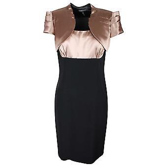 Fero Couture sin mangas negro y oro efecto seda vestido y chaqueta