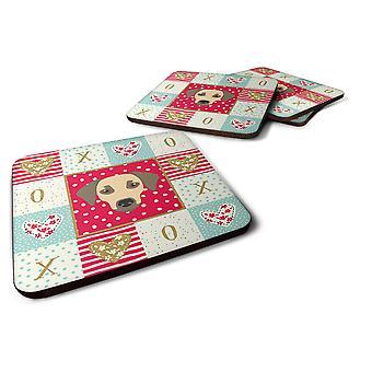 Carolines Treasures  CK5235FC Set of 4 Sato Dog Love Foam Coasters Set of 4