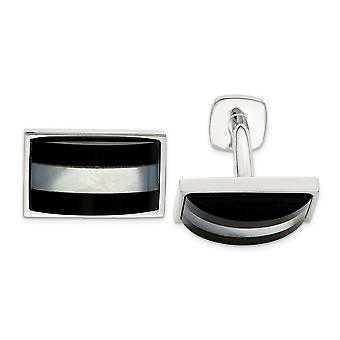 925 Sterling Silver Simulated Mother of Pearl and Simulated Onyx Cuff Links Jewelry Gifts for Men