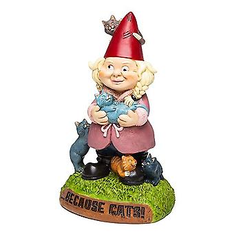 Bigmouth - the crazy cat lady garden gnome