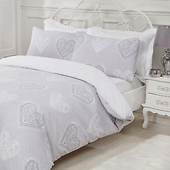 Set di biancheria da letto con cuori decorativi