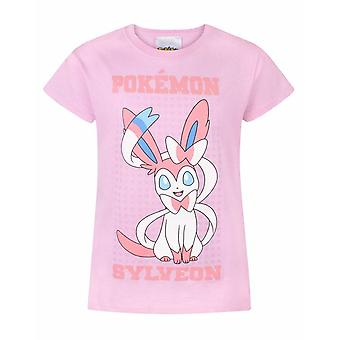 Pokemon Girls T-Shirt Sylveon Pink Short Sleeve Cotton Top