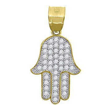 10k 2トーンゴールドメンズ女性キュービックジルコニアCZハムサ宗教的な魅力ペンダントネックレスメジャー27.5x13.70mmジュエリーギフト