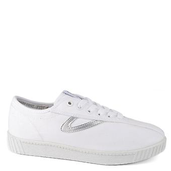Tretorn Women's Nylite White And Silver Canvas Trainer