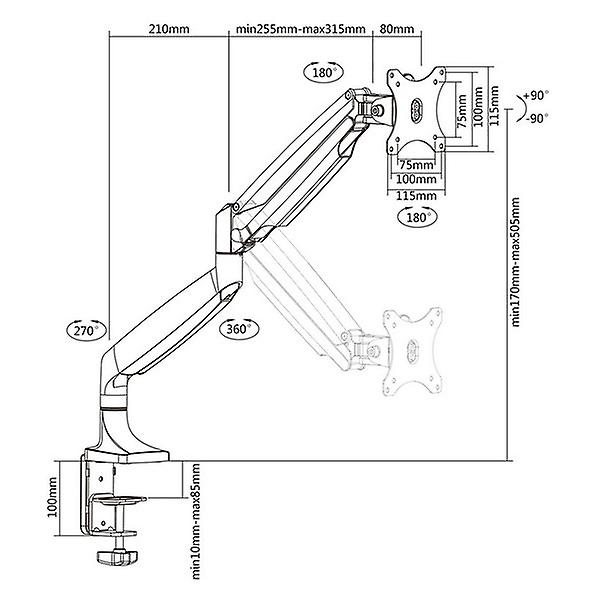 TV Wall Mount with Arm TooQ DB3032TNR-S Silver