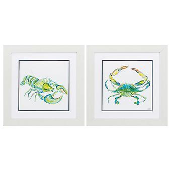 """19"""" X 19"""" White Frame Sea Life (Set of 2)"""