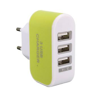 Stuff Certified® Triple (3x) USB Port iPhone / Android 5V - 3.1A Wall Charger Wall Charger Green