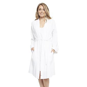 Cyberjammies 4475 Women's Sasha White Striped Cotton Short Robe