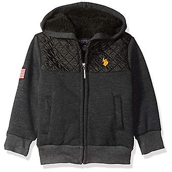 U.S. Polo Assn. Boys-apos; Little Long Sleeve Fleece Hoodie, Sherpa Lined Diamond ...