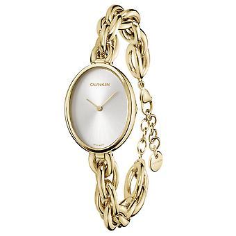 Calvin Klein Statement Quartz Silver Dial Gold PVD RvS Bracelet Dames Horloge K9Y23526