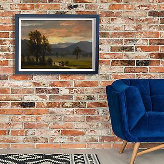 Albert Bierstadt - Landscape with cattle Poster Print Giclee